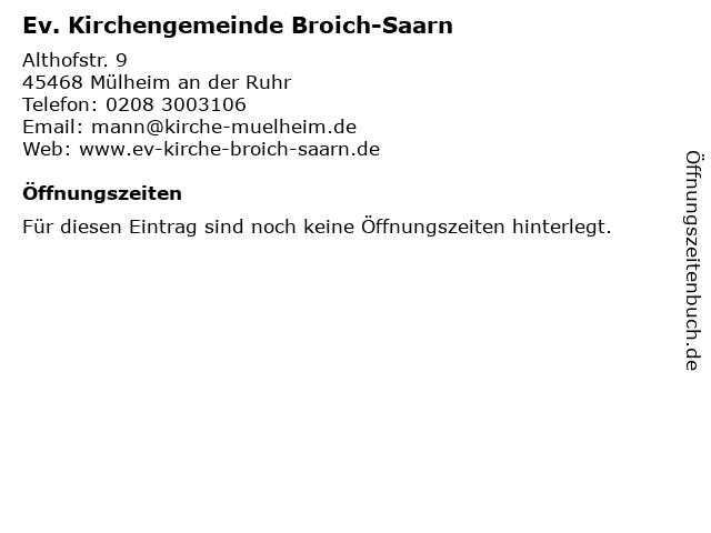 Ev. Kirchengemeinde Broich-Saarn in Mülheim an der Ruhr: Adresse und Öffnungszeiten