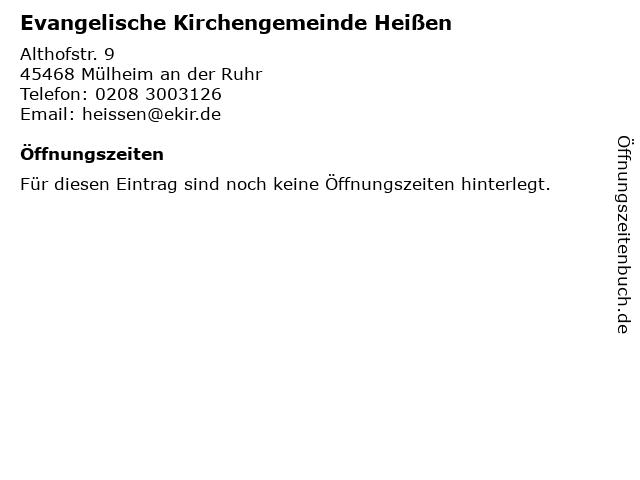 Evangelische Kirchengemeinde Heißen in Mülheim an der Ruhr: Adresse und Öffnungszeiten