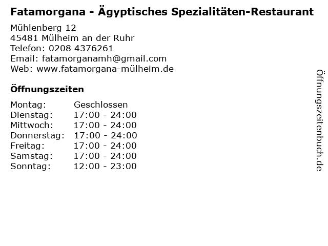 Fatamorgana - Ägyptisches Spezialitäten-Restaurant in Mülheim an der Ruhr: Adresse und Öffnungszeiten