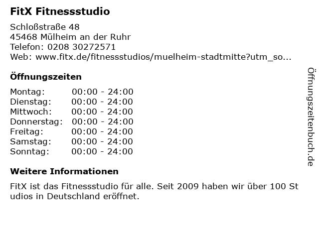 FitX Fitnessstudio in Mülheim an der Ruhr: Adresse und Öffnungszeiten