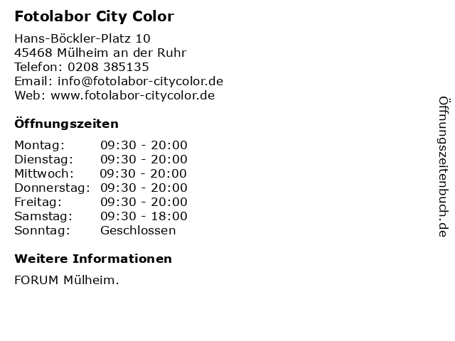 Fotolabor City Color in Mülheim an der Ruhr: Adresse und Öffnungszeiten