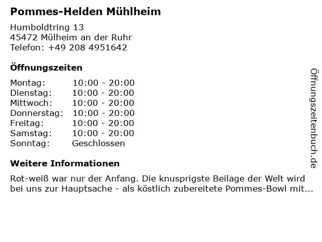 Frites van Holland in Mülheim an der Ruhr: Adresse und Öffnungszeiten