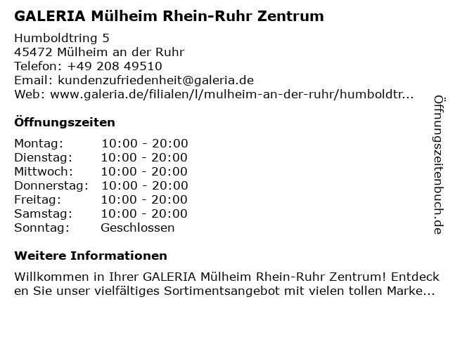 GALERIA (Karstadt) Mülheim Karstadt Arkaden im RRZ in Mülheim an der Ruhr: Adresse und Öffnungszeiten