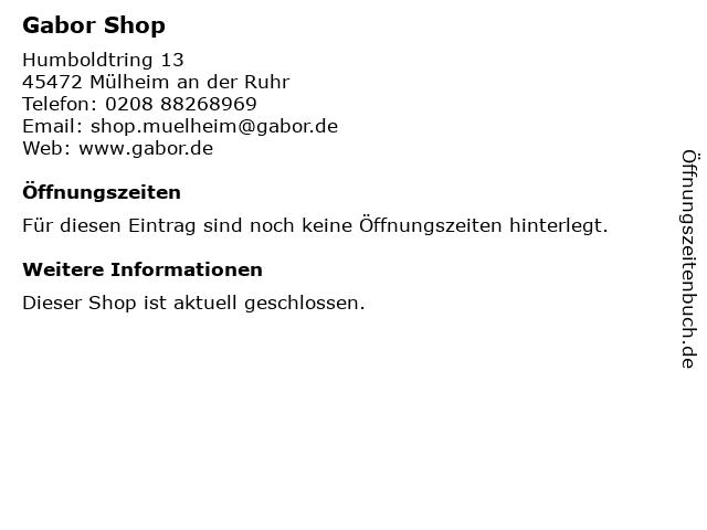 Gabor Shoes AG in Mülheim an der Ruhr: Adresse und Öffnungszeiten