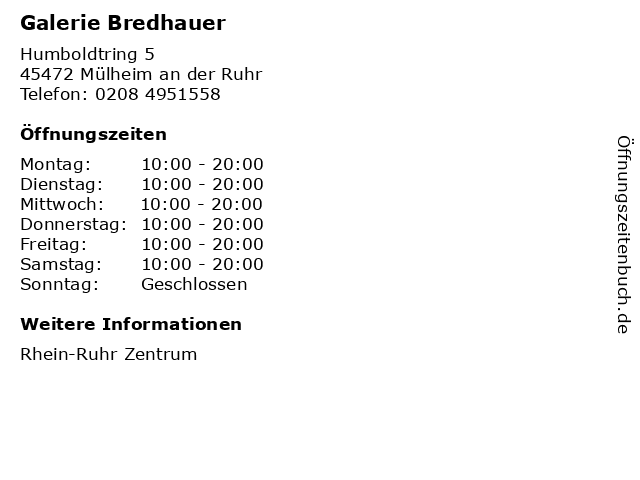Galerie Bredhauer in Mülheim an der Ruhr: Adresse und Öffnungszeiten