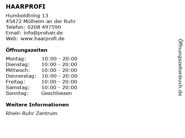 HAARPROFI in Mülheim an der Ruhr: Adresse und Öffnungszeiten