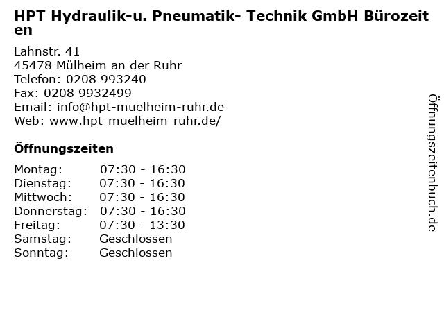 HPT Hydraulik-u. Pneumatik- Technik GmbH Bürozeiten in Mülheim an der Ruhr: Adresse und Öffnungszeiten