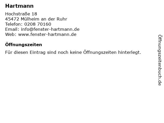 Hartmann in Mülheim an der Ruhr: Adresse und Öffnungszeiten
