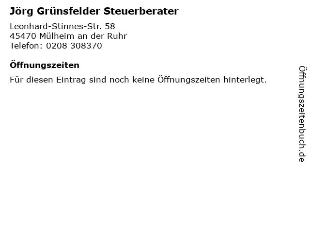 Jörg Grünsfelder Steuerberater in Mülheim an der Ruhr: Adresse und Öffnungszeiten