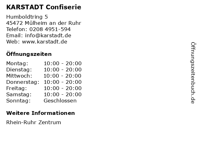 KARSTADT Confiserie in Mülheim an der Ruhr: Adresse und Öffnungszeiten