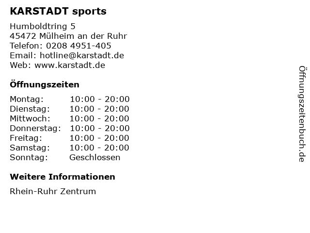 KARSTADT sports in Mülheim an der Ruhr: Adresse und Öffnungszeiten
