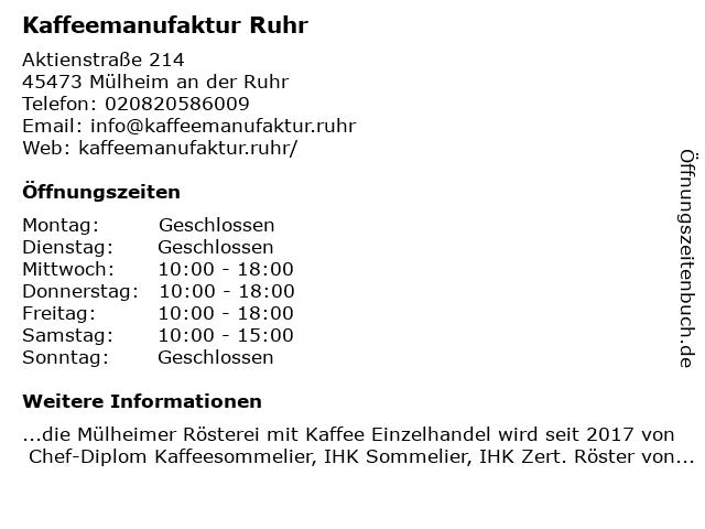 Kaffeemanufaktur Ruhr in Mülheim an der Ruhr: Adresse und Öffnungszeiten