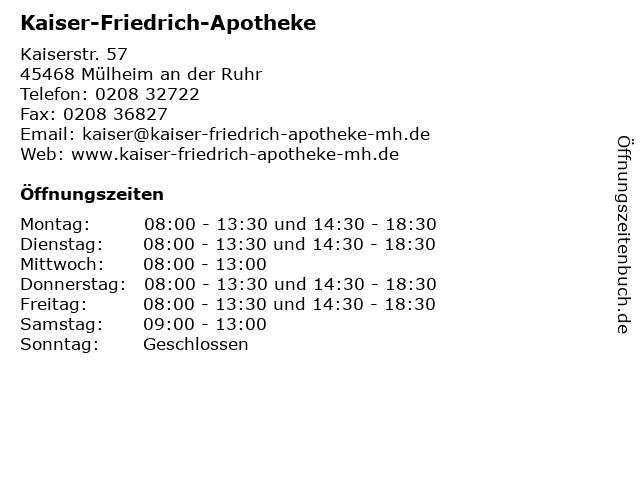 Kaiser-Friedrich-Apotheke in Mülheim an der Ruhr: Adresse und Öffnungszeiten