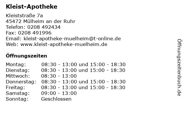 Kleist-Apotheke in Mülheim an der Ruhr: Adresse und Öffnungszeiten