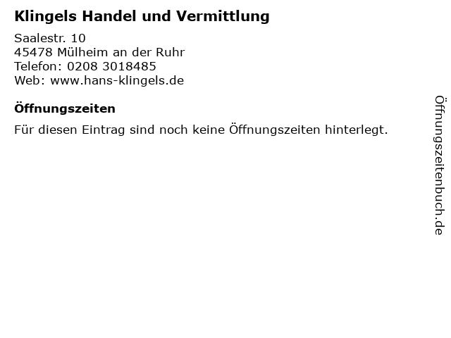 Klingels Handel und Vermittlung in Mülheim an der Ruhr: Adresse und Öffnungszeiten