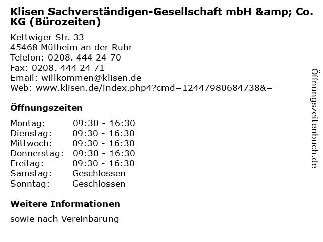 Klisen Sachverständigen-Gesellschaft mbH & Co. KG (Bürozeiten) in Mülheim an der Ruhr: Adresse und Öffnungszeiten