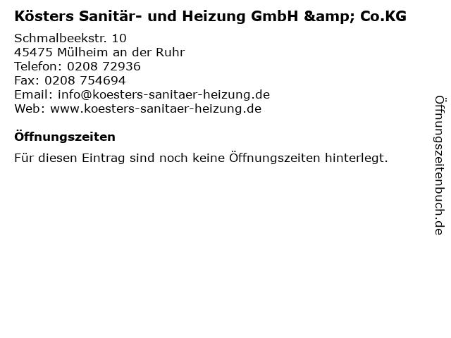 Kösters Sanitär- und Heizung GmbH & Co.KG in Mülheim an der Ruhr: Adresse und Öffnungszeiten