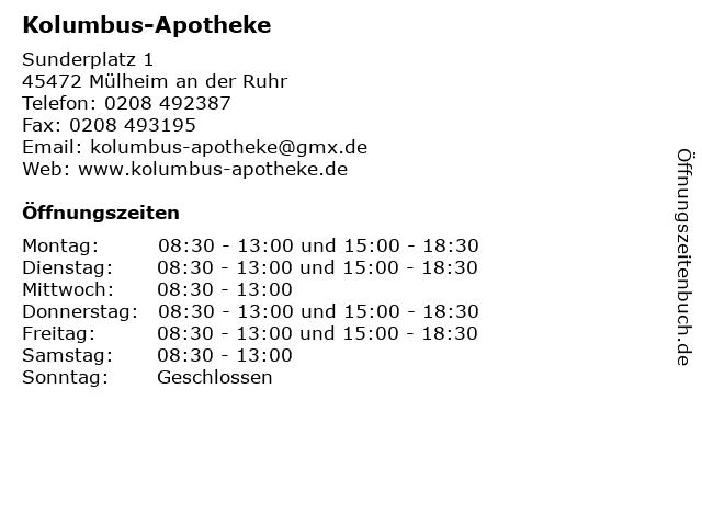 Kolumbus-Apotheke in Mülheim an der Ruhr: Adresse und Öffnungszeiten