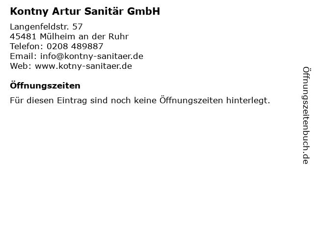 Kontny Artur Sanitär GmbH in Mülheim an der Ruhr: Adresse und Öffnungszeiten