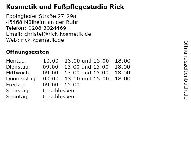 Kosmetik und Fußpflegestudio Rick in Mülheim an der Ruhr: Adresse und Öffnungszeiten