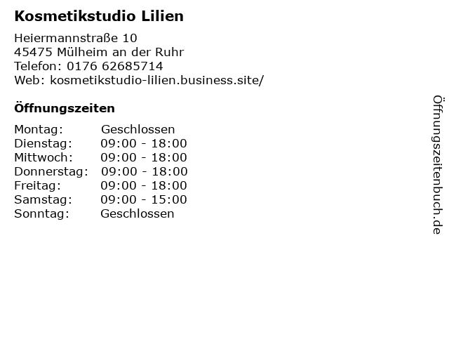Kosmetikstudio Lilien in Mülheim an der Ruhr: Adresse und Öffnungszeiten