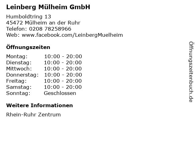 Leinberg Mülheim GmbH in Mülheim an der Ruhr: Adresse und Öffnungszeiten