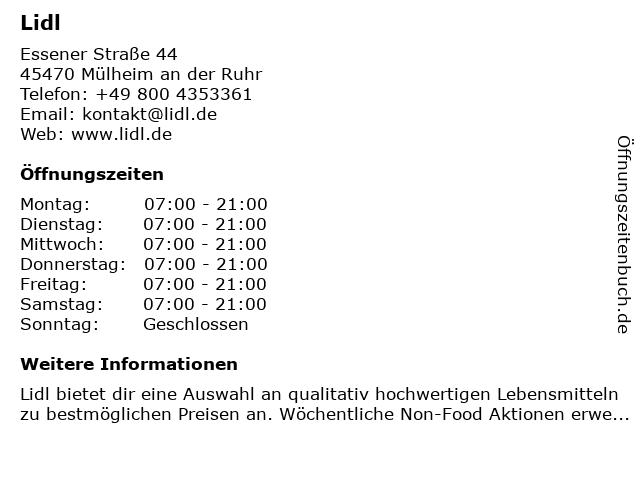 Lidl in Mülheim an der Ruhr: Adresse und Öffnungszeiten