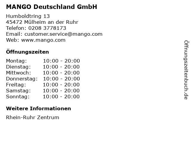 MANGO Deutschland GmbH in Mülheim an der Ruhr: Adresse und Öffnungszeiten