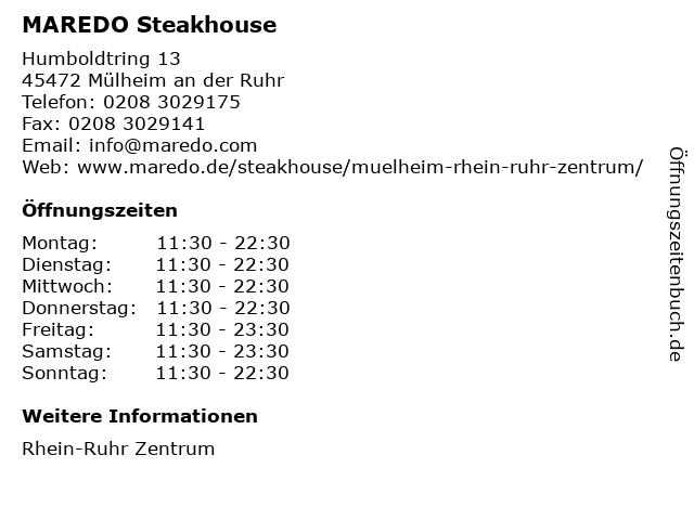 MAREDO Steakhouse in Mülheim an der Ruhr: Adresse und Öffnungszeiten