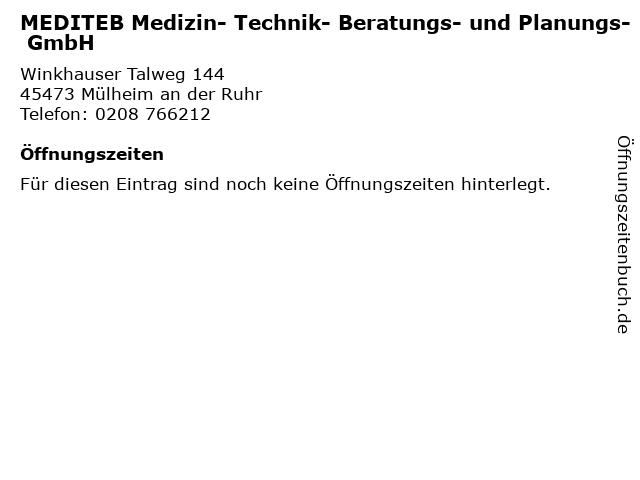 MEDITEB Medizin- Technik- Beratungs- und Planungs- GmbH in Mülheim an der Ruhr: Adresse und Öffnungszeiten