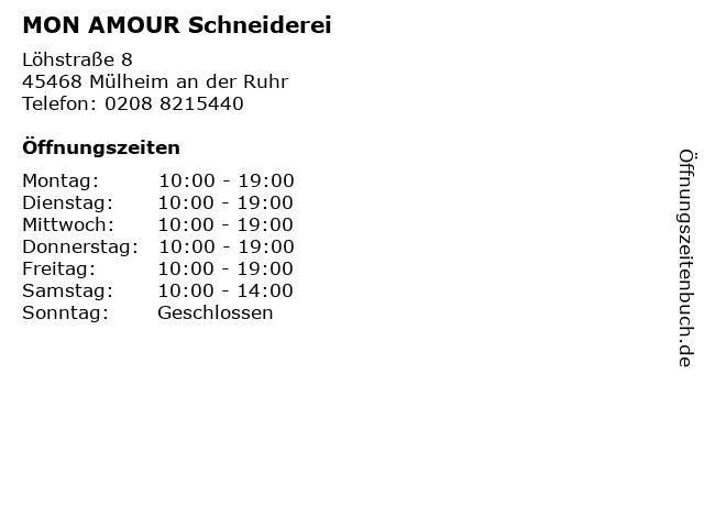 MON AMOUR Schneiderei in Mülheim an der Ruhr: Adresse und Öffnungszeiten
