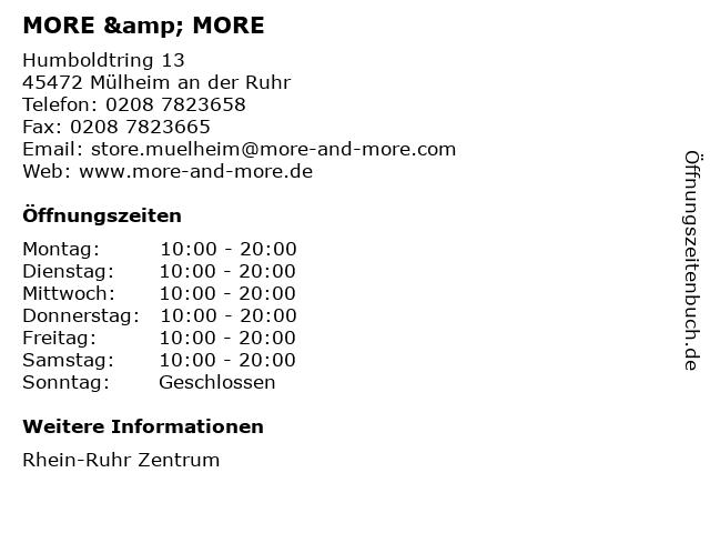 MORE & MORE in Mülheim an der Ruhr: Adresse und Öffnungszeiten