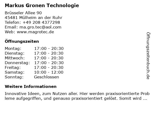 Markus Gronen Technologie in Mülheim an der Ruhr: Adresse und Öffnungszeiten