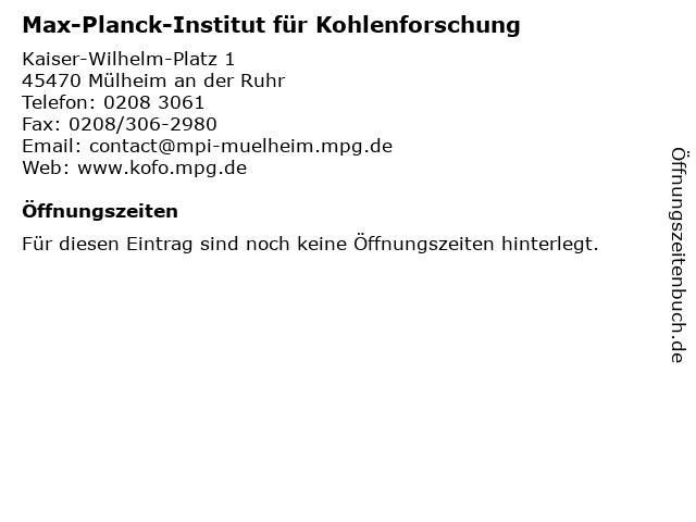 Max-Planck-Institut für Kohlenforschung in Mülheim an der Ruhr: Adresse und Öffnungszeiten