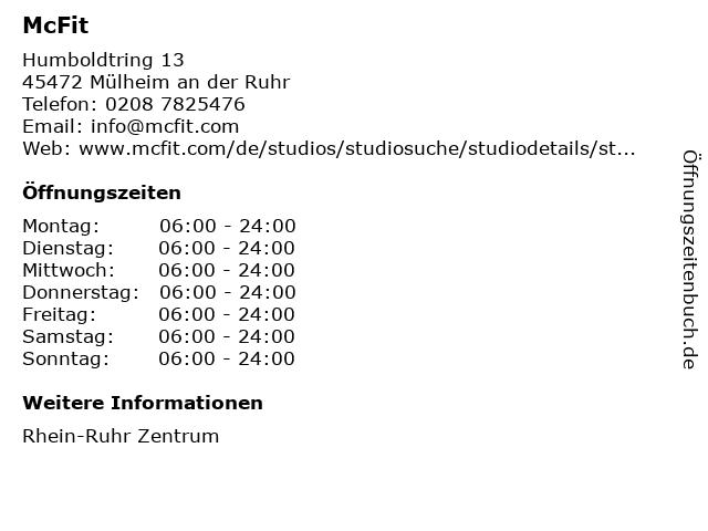 McFit Fitness GmbH in Mülheim an der Ruhr: Adresse und Öffnungszeiten