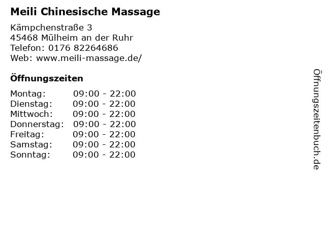 Meili Chinesische Massage in Mülheim an der Ruhr: Adresse und Öffnungszeiten