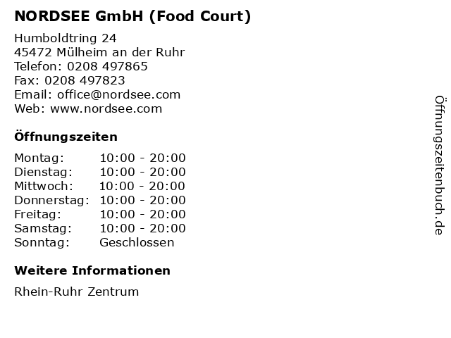 NORDSEE GmbH (Food Court) in Mülheim an der Ruhr: Adresse und Öffnungszeiten