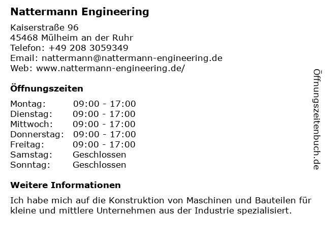 Nattermann Engineering in Mülheim an der Ruhr: Adresse und Öffnungszeiten