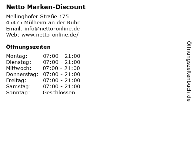 Netto Marken-Discount in Mülheim an der Ruhr: Adresse und Öffnungszeiten