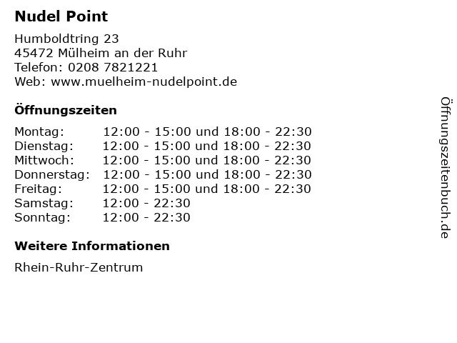 Nudel Point in Mülheim an der Ruhr: Adresse und Öffnungszeiten