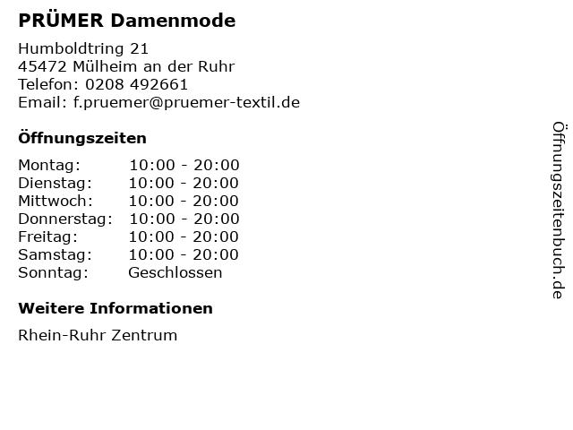 PRÜMER Damenmode in Mülheim an der Ruhr: Adresse und Öffnungszeiten