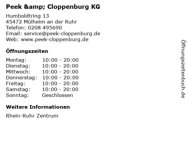 Peek & Cloppenburg KG in Mülheim an der Ruhr: Adresse und Öffnungszeiten