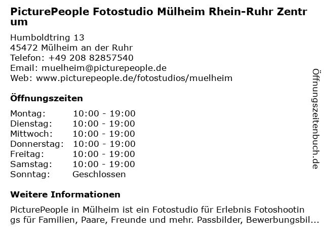PicturePeople Fotostudio Mühlheim-Rhein-Ruhr-Zentrum in Mülheim an der Ruhr: Adresse und Öffnungszeiten