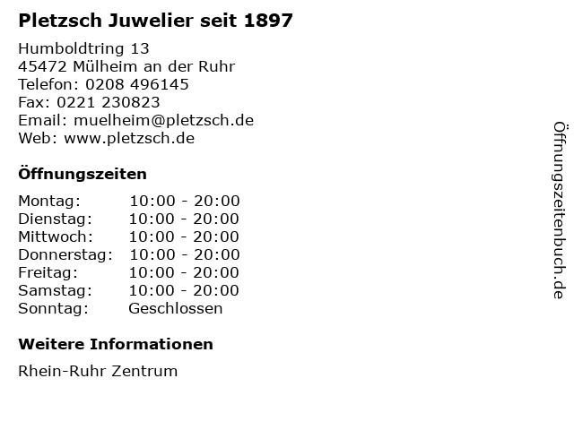 Pletzsch Juwelier seit 1897 in Mülheim an der Ruhr: Adresse und Öffnungszeiten