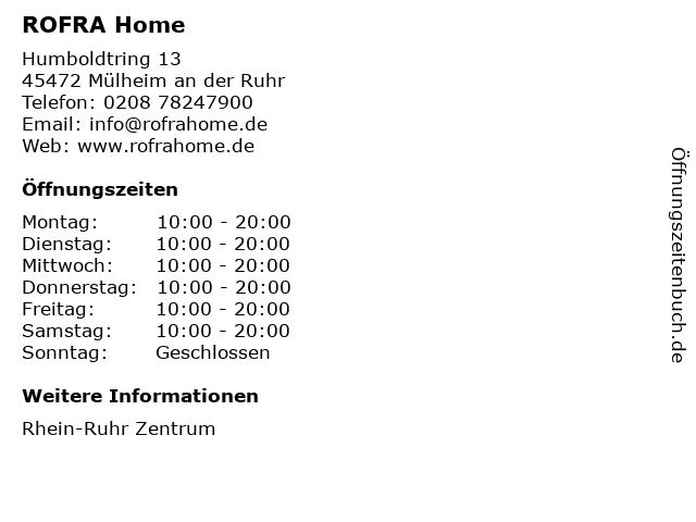 ROFRA Home in Mülheim an der Ruhr: Adresse und Öffnungszeiten
