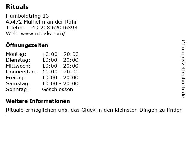 Rituals Cosmetics Germany GmbH in Mülheim an der Ruhr: Adresse und Öffnungszeiten
