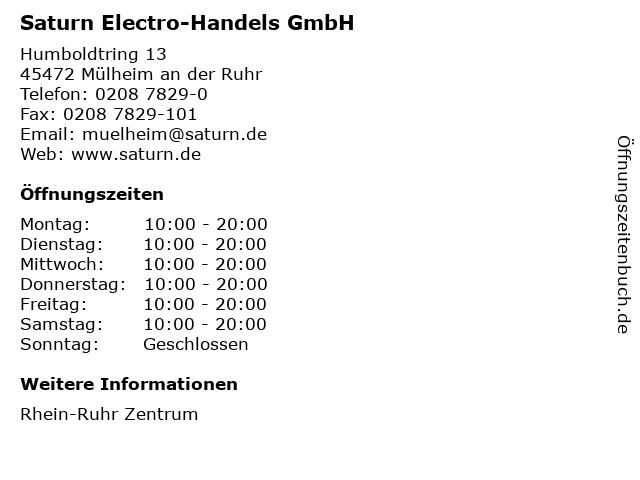 Saturn Electro-Handels GmbH in Mülheim an der Ruhr: Adresse und Öffnungszeiten