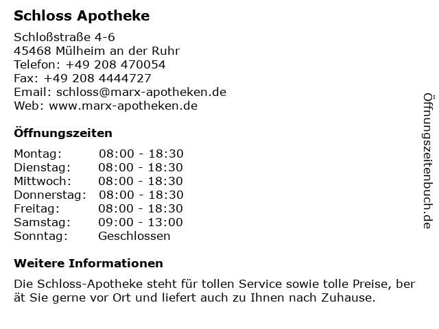 Schloss Apotheke in Mülheim an der Ruhr: Adresse und Öffnungszeiten