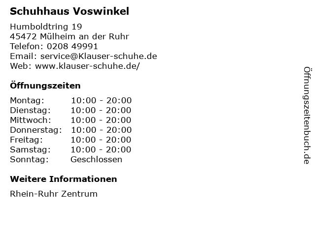 Schuhhaus Voswinkel in Mülheim an der Ruhr: Adresse und Öffnungszeiten