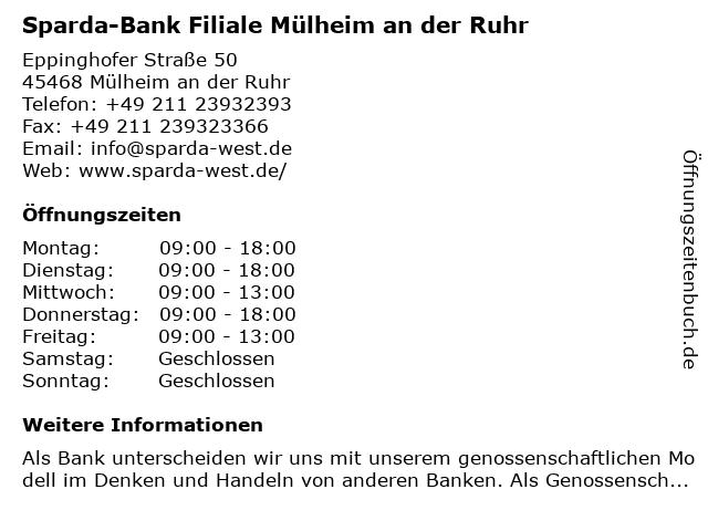 Sparda-Bank Filiale Mülheim an der Ruhr in Mülheim an der Ruhr: Adresse und Öffnungszeiten